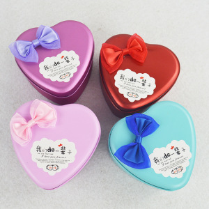 Wedding Gift Bowknot Heart Tin Box