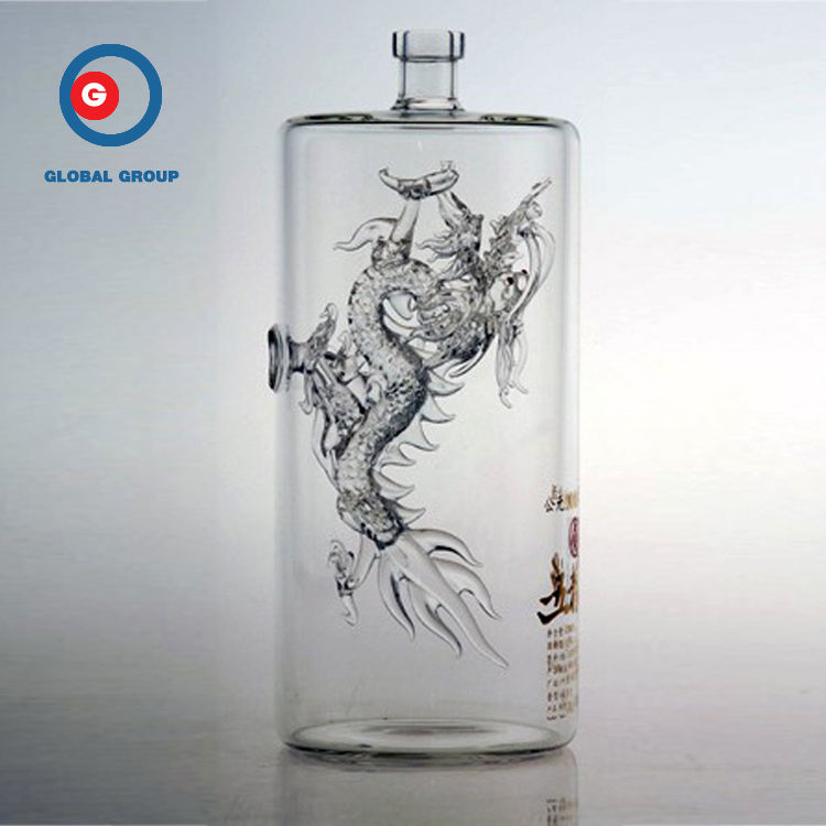 Narrow Mouth Round Shape Screen Printing Glass Dragon Bottle
