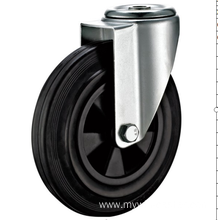 100mm  European industrial rubber  swivel caster without brake