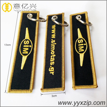 promotional double sided logo custom embroidery keychain