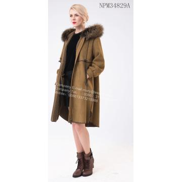 Long Wool Collar Spliced Coat