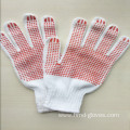 Red Dotted Natural Bleach White Cotton Glove