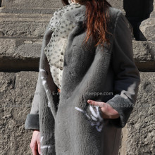 Spain Merino Shearling Coat Wite Flower For Lady