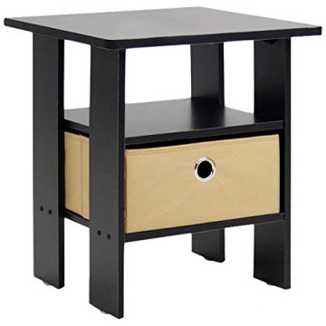 OEM/ODM for Bedroom Nightstands,Bedside Cabinets,Modern Nightstands Manufacturers and Suppliers in China Rounded edge design oak wooden black color bedside table supply to Pitcairn Wholesale