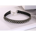Black Wide Hollow Lace Necklace Rhinestone Beaded Choker