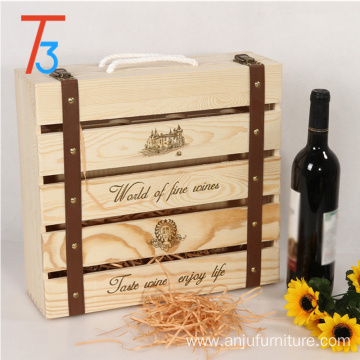 China for Solid Wine Box custom pine wooden wine crate storage gift box supply to Montenegro Wholesale