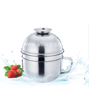 Stainless Steel Bowl With Handle And Lid