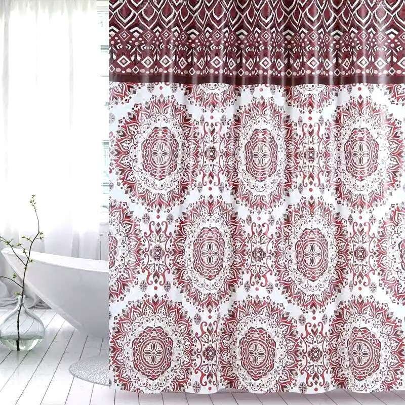 Shower Curtain PEVA Brown Plants