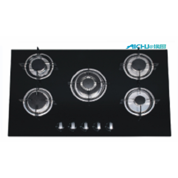Built In Black Tempered Glass Gas Hob