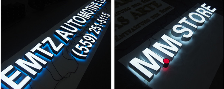 Stainless steel backlit letter