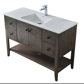 Solid surface one time form cabinet basins