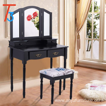 Black Vanity Paulowmia Wood Mirrored Dresser Makeup Table Stool Set Home Drawers