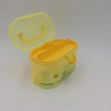 yellow household plastic storage box