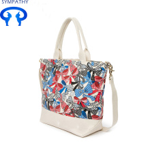 Discount Price Pet Film for Large Cotton Tote Bag Fashion print canvas handbag export to United States Factory