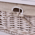 Wicker Basket White Night Stand 3 Tiers 1 Drawer Bedside End Table Organizer