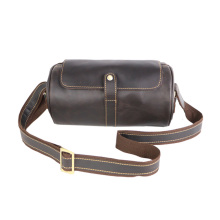 Leather Cool Barrel Sling Crossbody Bag for men