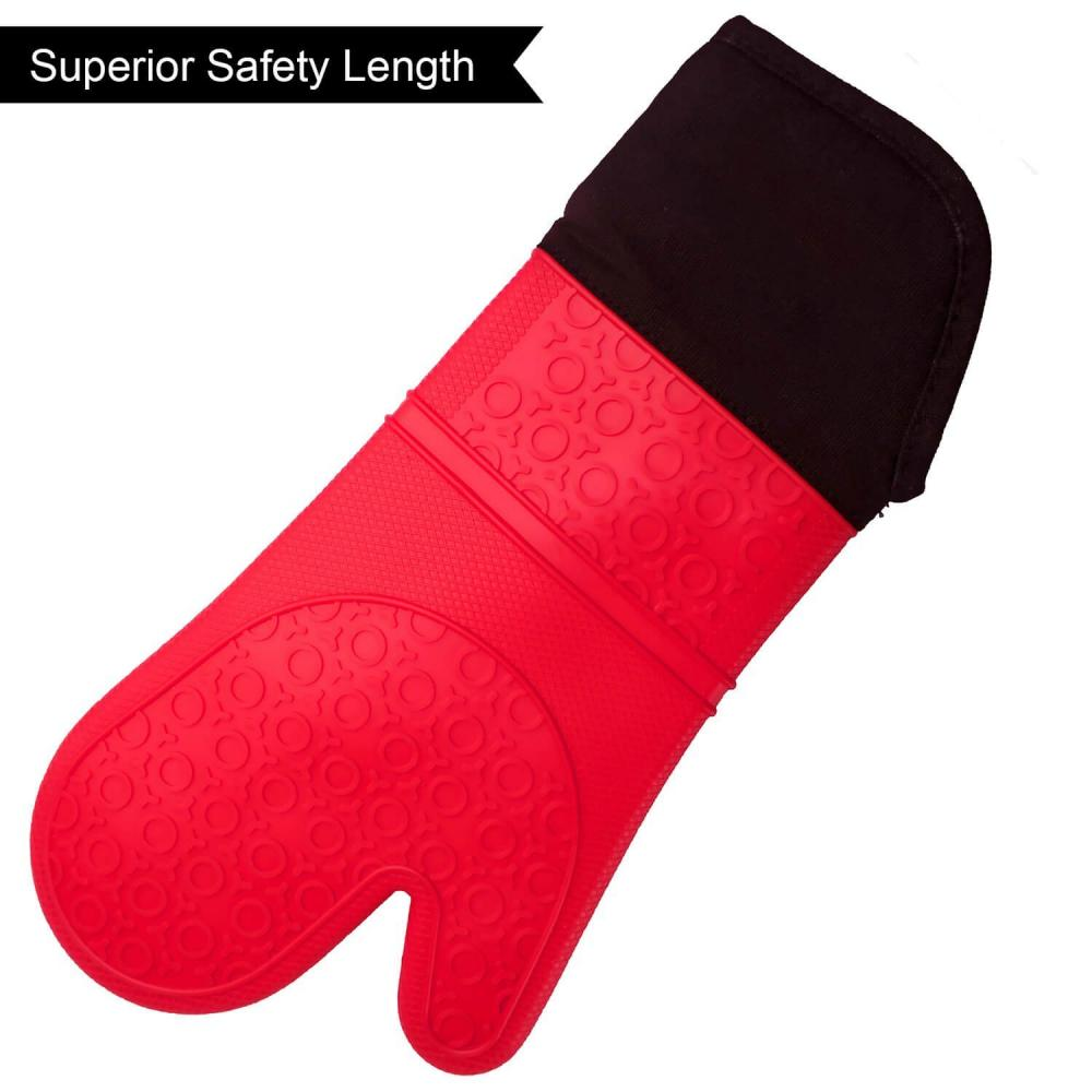 Kitchen Silicone Oven Mitts with Quilted Liner
