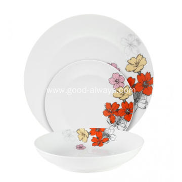 18 Piece Porcelain Tableware Dinner Set ,Flower