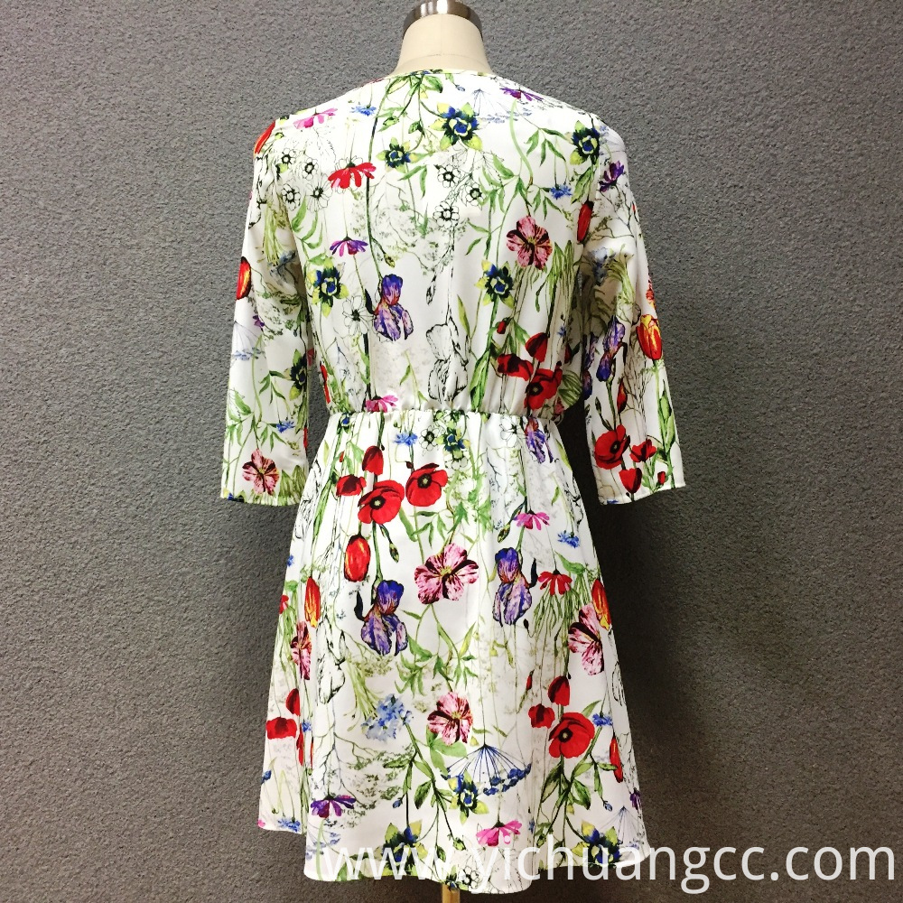 Women's polyester printed long sleeves dress