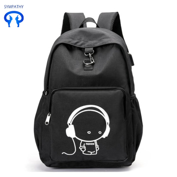 Night light backpack with USB interface student bag
