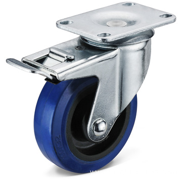 The Elastic Rubber Flat Bottom Double Brake Casters