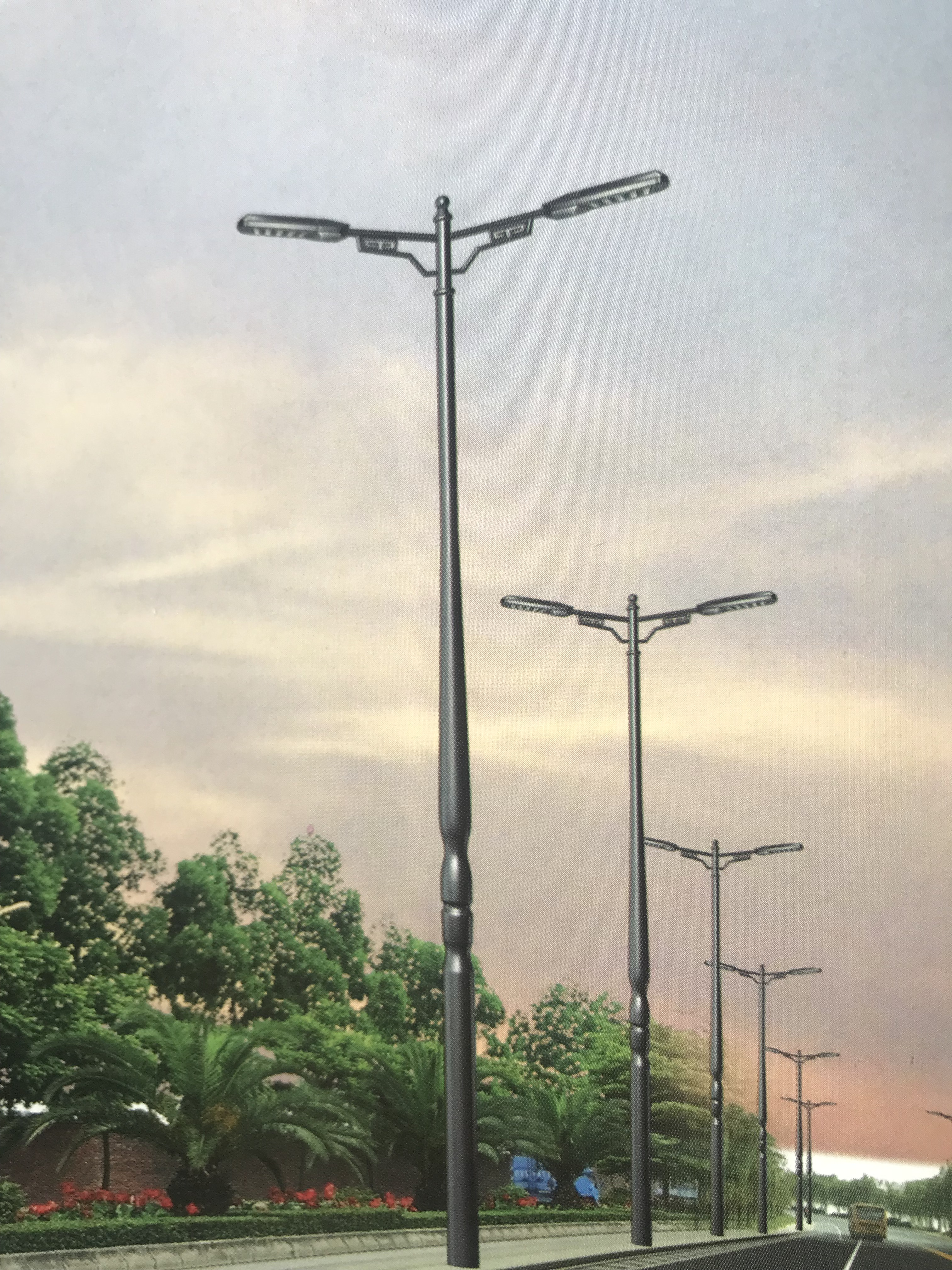 Aluminium alloy spinning courtyard lamp pole