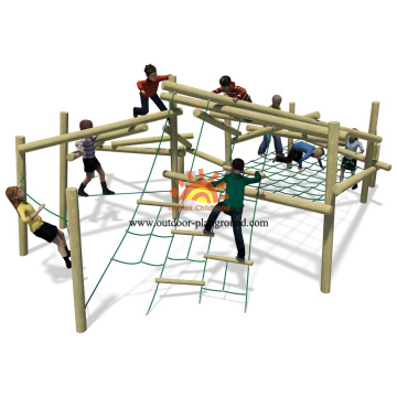 Outdoor Wooden Climbing Net Playground For Children