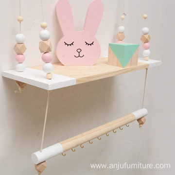 White Multifunctional Storage Shelf Nordic Display Wall Hanging Shelf Swing Rope Floating Shelves