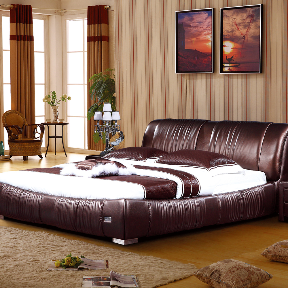 Genuine leather soft bed