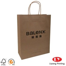 Flat handle brown twist kraft paper bag