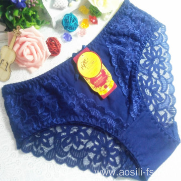 China OEM wholesale new style female underwear blue sexy comfortable lace cotton fancy panty 5832