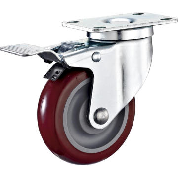4'' Swivel Industrial PU Caster With PP Core With Brake