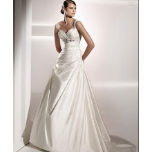Empire A-line Sweetheart Straps Chapel Train Taffeta Beading Covered Buttons Wedding Dress