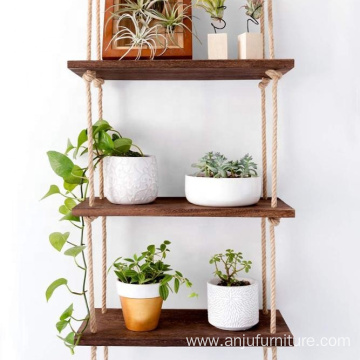 3 Tier Jute Rope Organizer Rack Floating Shelf Wall Swing Storage Shelves Wood Wall Hanging Shelf