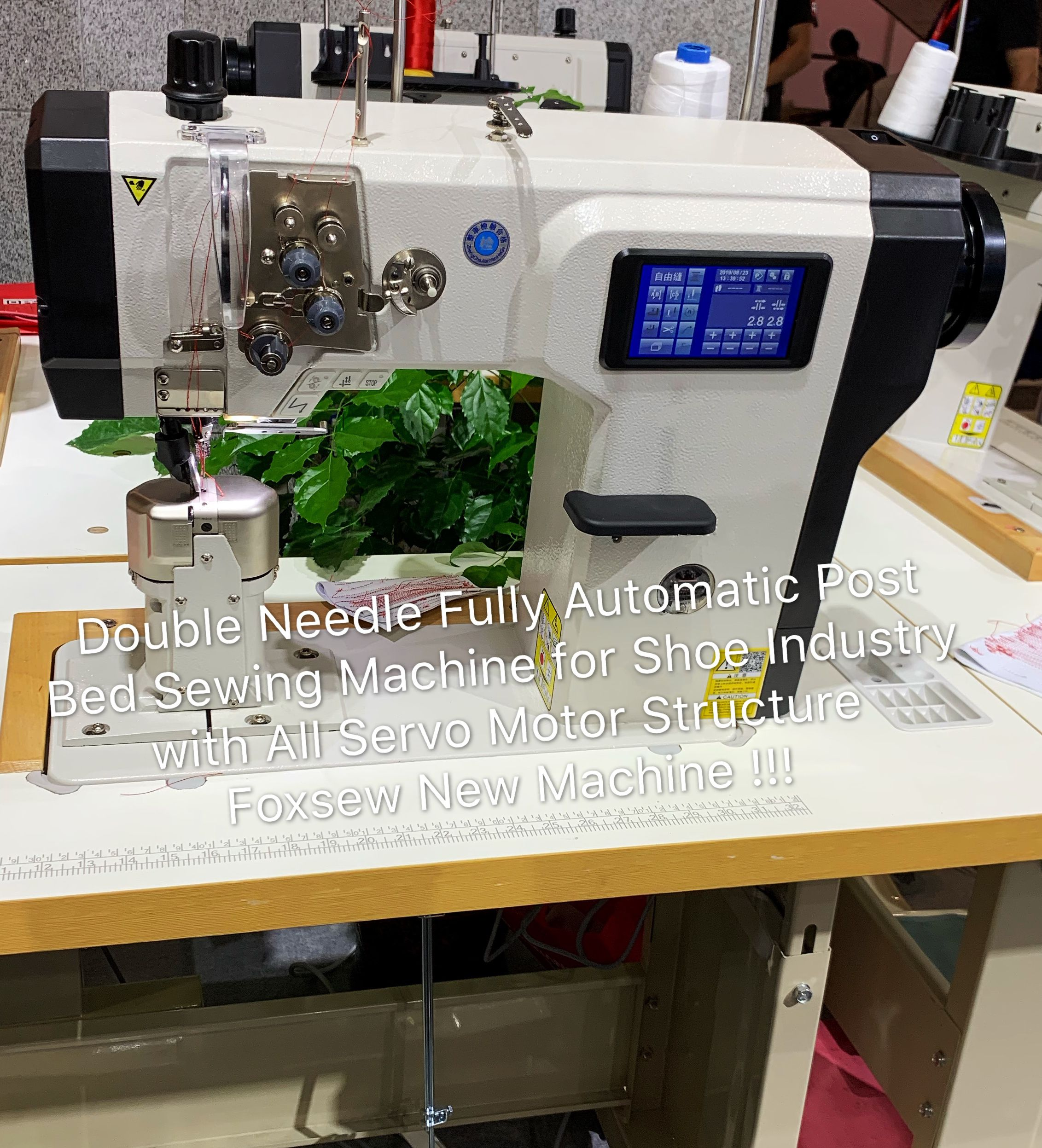 Double Needle Fully Automatic Post Bed Sewing Machine for Shoes Industry With all Servo Motor Strcture FOXSEW FX1892
