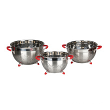 Good Quality for China Metal Colander,Steel Colander,Stainless Colander Supplier Perforated Colander Set with Handle and Solid Base export to Spain Exporter
