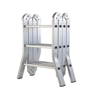 Aluminum 4 folds*2 steps extension ladder