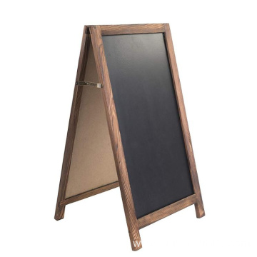 A-Frame Rustic Natural Wood Chalkboard Sign, Double Sided Advertisement Display Sign