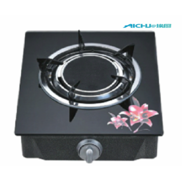 Black Tempered Glass Table Gas Stove