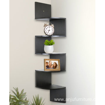 5 Tier Wooden Wall Mount Corner Shelves Espresso Finish