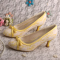 Medium Heel Olive Green Bridal Shoes with Bow