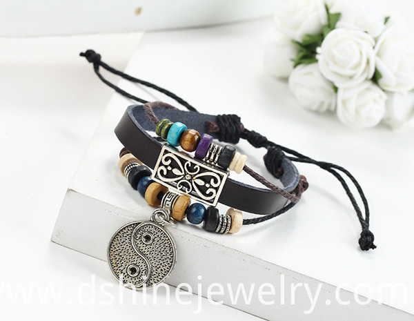 Girl's Charm Leather Bracelet