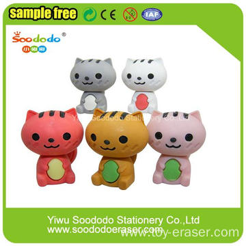 3D Various Color Fold Ear Cat Shaped Erasers