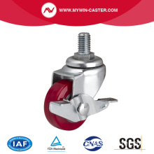 Mini 1.5 Inch 30kg Threaded Brake TPU Caster