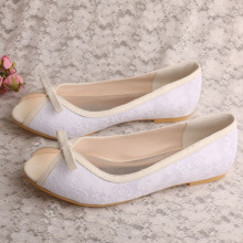 Flat White Peep Toe Shoes Lace