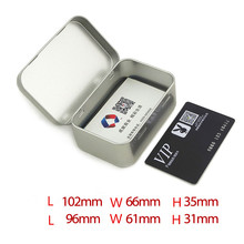 Silver Square Bussiness Card Tin Cans