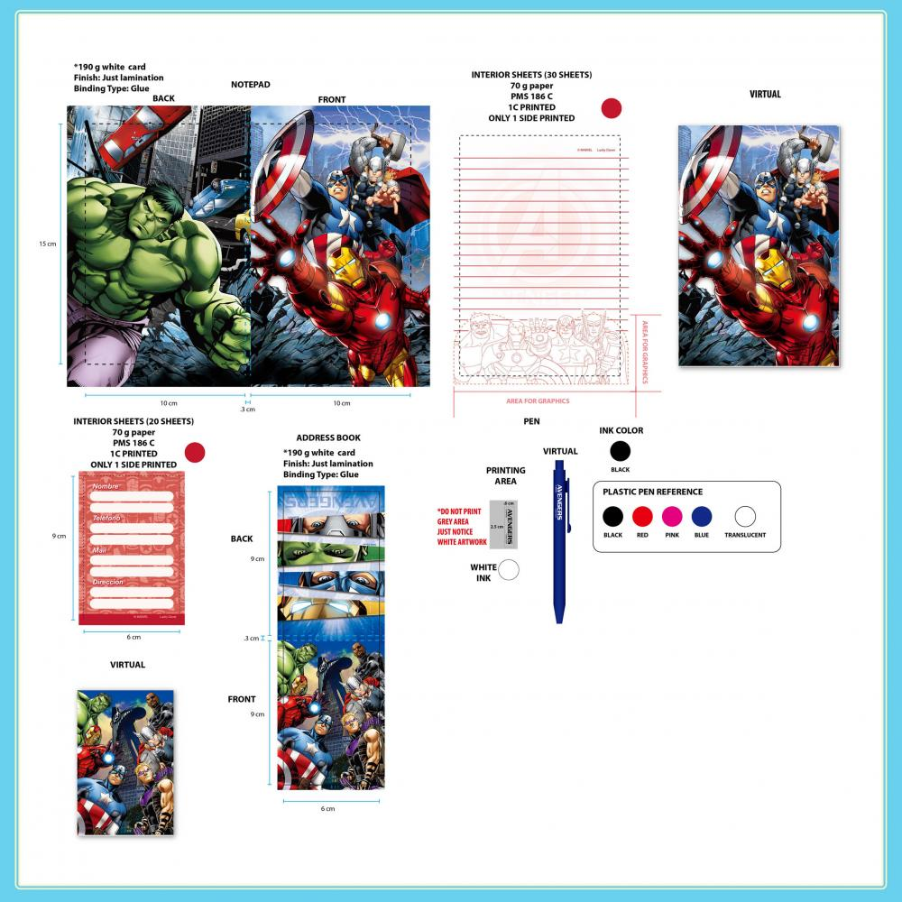 Avengers 3 Piece Notebook Blister Card Set