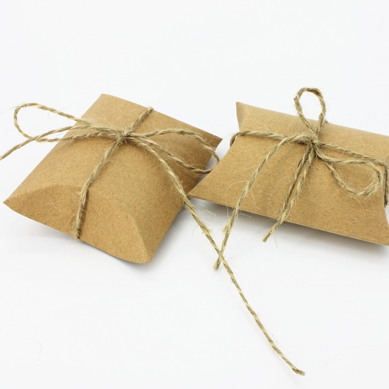 Pillow Box Candy Favor Boxes With Hemp Rope