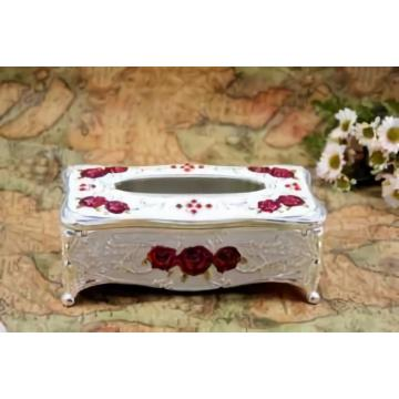 Wooden Carved Rose Tissue Box
