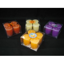 PVC Box Packed Colored Unscented Votive Candles
